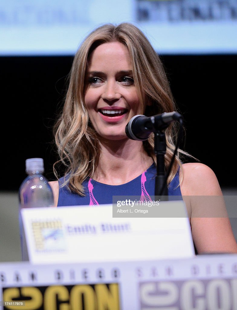 Actress Emily Blunt speaks onstage at the Warner Bros. and Legendary Pictures preview of 'Edge of Tomorrow' during Comic-Con International 2013 at San Diego Convention Center on July 20, 2013 in San Diego, California.