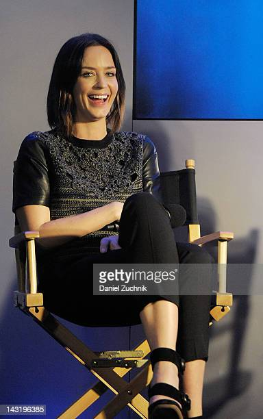 Actress Emily Blunt visits the Apple Store West 14th Street to discuss her film 'Your Sister's Sister' on April 20 2012 in New York City