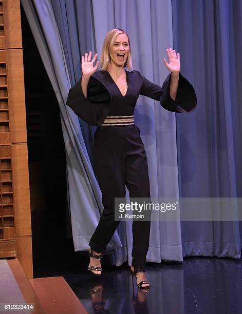 Actress Emily Blunt visits 'The Tonight Show Starring Jimmy Fallon' at Rockefeller Center on October 3 2016 in New York City