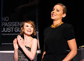Actress Emily Browning and Abbie Cornish speak at the Australians In Film screening of Warner Bros 'Sucker Punch' at the Harmony Gold Theatre on...