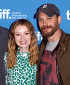 Actress Emily Browning and actor Tom Hardy pose during the 'Legend' press conference at the 2015 Toronto International Film Festival at TIFF Bell...