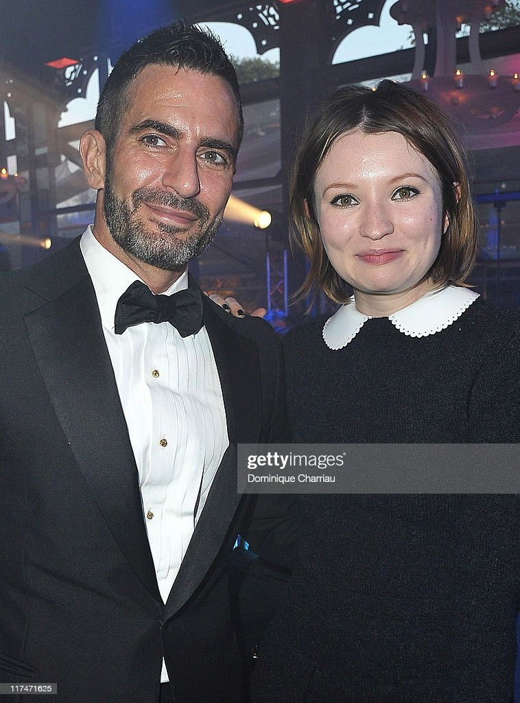 Actress Emily Browning (L) and Designer Marc Jacobs attend the 25th amfAR Inspiration Gala at Pavillon Gabriel on June 23, 2011 in Paris, France.