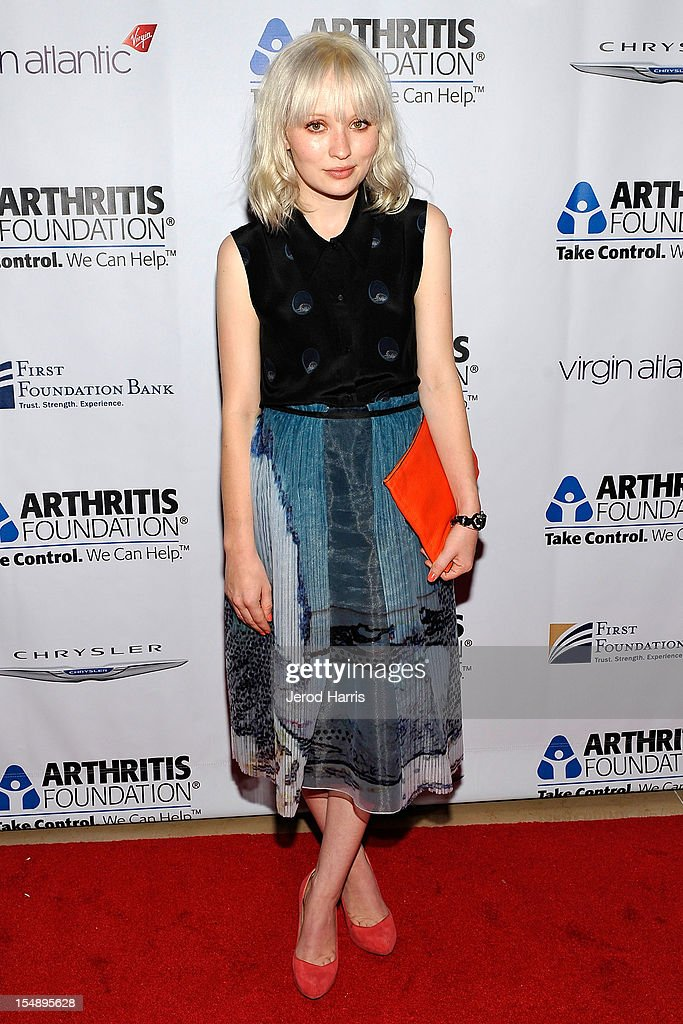 Actress Emily Browning arrives at the Arthritis Foundation's Annual Gala at The Beverly Hilton Hotel on October 25, 2012 in Beverly Hills, California.