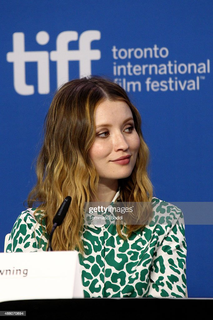 Actress Emily Browning speaks onstage during the 'Legend' press conference at the 2015 Toronto International Film Festival at TIFF Bell Lightbox on September 13, 2015 in Toronto, Canada.