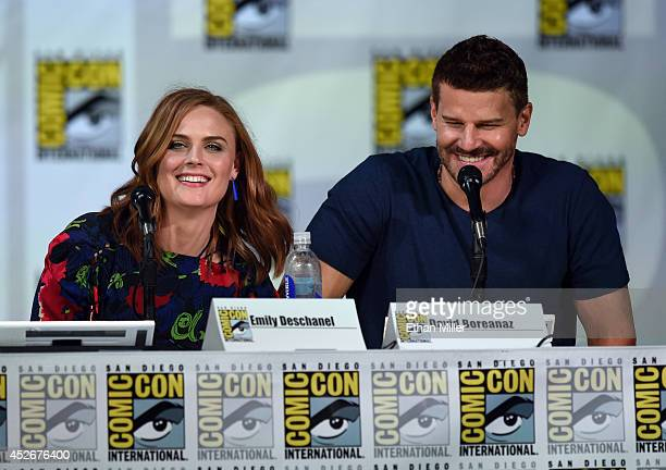 Actress Emily Deschanel and actor David Boreanaz attend FOX's 'Bones' panel during ComicCon International 2014 at the San Diego Convention Center on...
