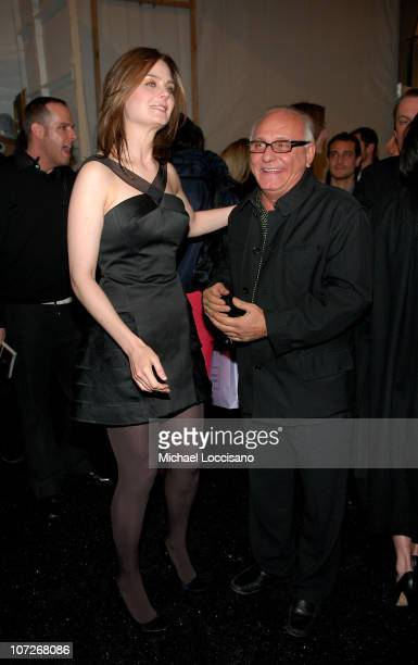 Actress Emily Deschanel and designer Max Azria at Herve Leger by Max Azria Fall 2008 during MercedesBenz Fashion Week at the Promenade Bryant Park on...