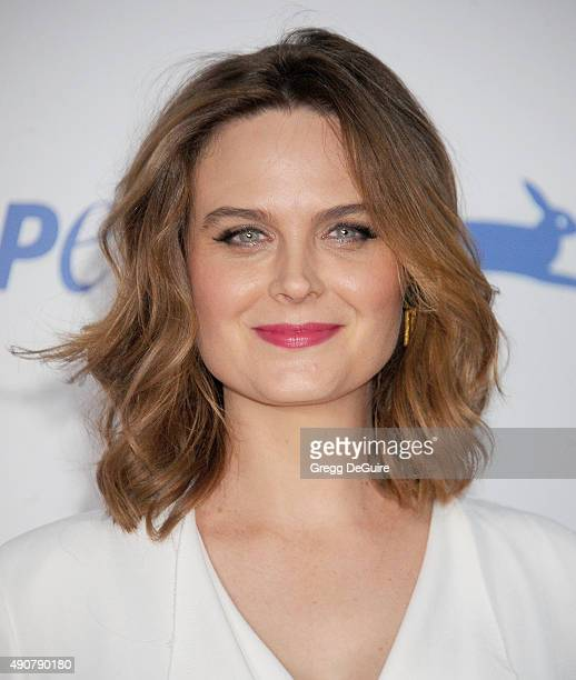 Actress Emily Deschanel arrives at PETA's 35th Anniversary Party at Hollywood Palladium on September 30 2015 in Los Angeles California