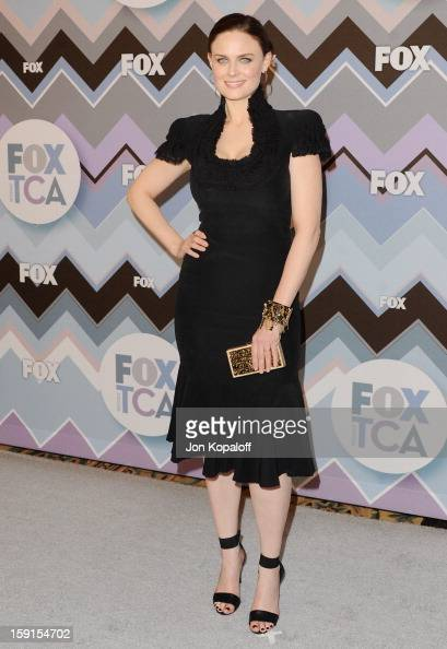 Actress Emily Deschanel arrives at the 2013 Winter TCA FOX AllStar Party at The Langham Huntington Hotel and Spa on January 8 2013 in Pasadena...
