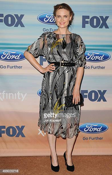 Actress Emily Deschanel arrives at the 2014 FOX Fall EcoCasino Party at The Bungalow on September 8 2014 in Santa Monica California