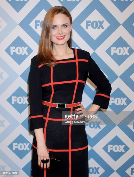 Actress Emily Deschanel arrives at the 2014 TCA winter press tour FOX allstar party at The Langham Huntington Hotel and Spa on January 13 2014 in...