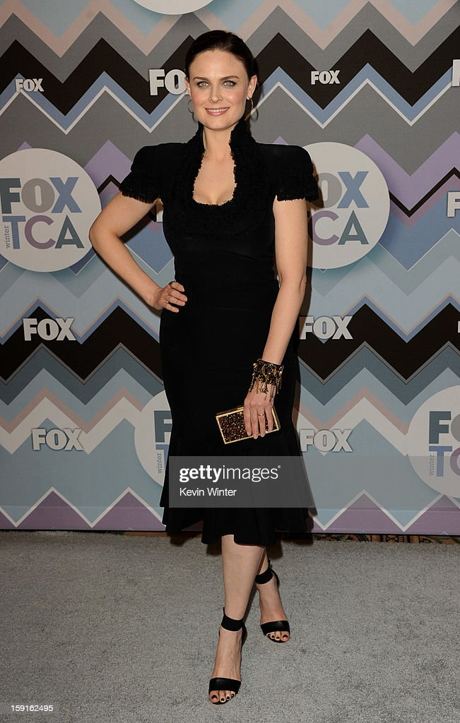 Actress Emily Deschanel arrives at the FOX All-Star Party at the Langham Huntington Hotel on January 8, 2013 in Pasadena, California.