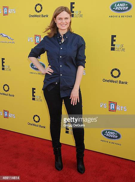 Actress Emily Deschanel arrives at the PS ARTS Express Yourself 2014 at The Barker Hanger on November 16 2014 in Santa Monica California