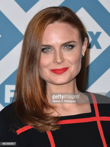 Actress Emily Deschanel arrives to the 2014 Fox AllStar Party at the Langham Hotel on January 13 2014 in Pasadena California