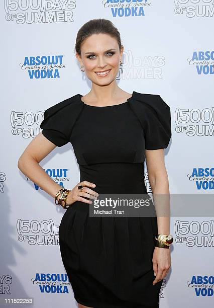 Actress Emily Deschanel arrives to the Los Angeles premiere of ' Days of Summer' held at the Egyptian Theatre on June 24 2009 in Hollywood California