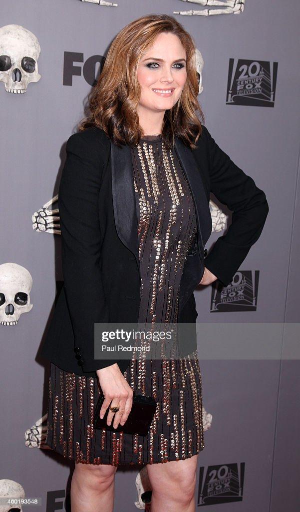 Actress Emily Deschanel arriving at Bones 200th Episode Celebration at Herringbone, Mondrian LA on December 8, 2014 in Beverly Hills, California.