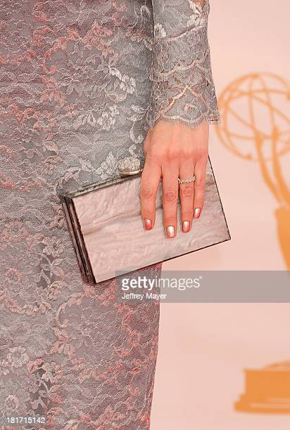 Actress Emily Deschanel at the 65th Annual Primetime Emmy Awards at Nokia Theatre LA Live on September 22 2013 in Los Angeles California