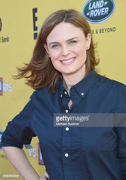Actress Emily Deschanel attends PS ARTS presents Express Yourself 2014 with sponsors OneWest Bank and Jaguar Land Rover at Barker Hangar on November...