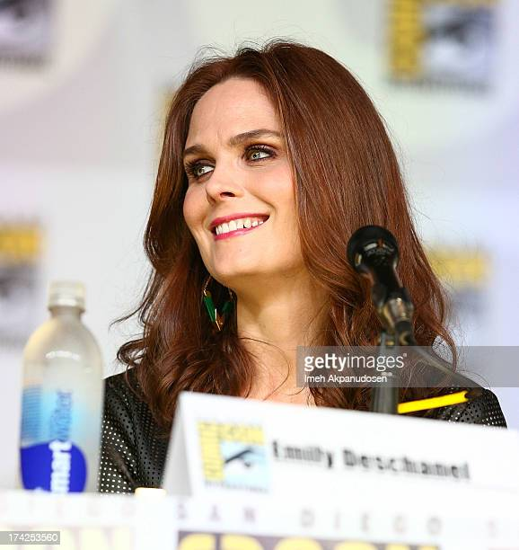 Actress Emily Deschanel attends the 'Bones' panel during ComicCon International 2013 at San Diego Convention Center on July 19 2013 in San Diego...