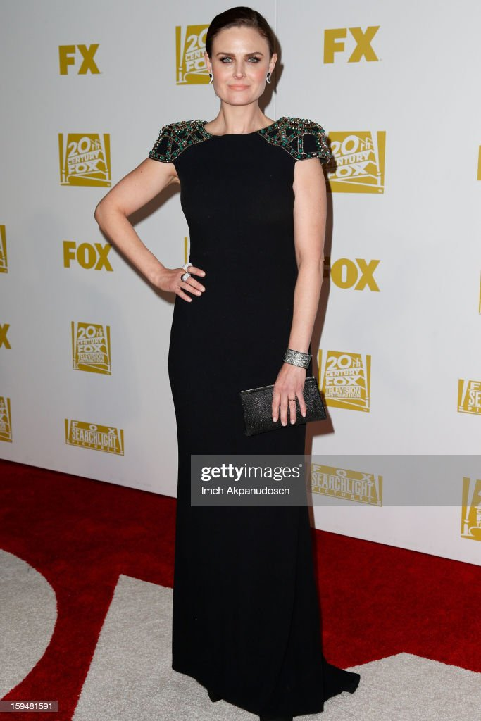 Actress <a gi-track='captionPersonalityLinkClicked' href=/galleries/search?phrase=Emily+Deschanel&family=editorial&specificpeople=240264 ng-click='$event.stopPropagation()'>Emily Deschanel</a> attends the Fox Searchlight 2013 Golden Globe Awards Party on January 13, 2013 in Beverly Hills, California.