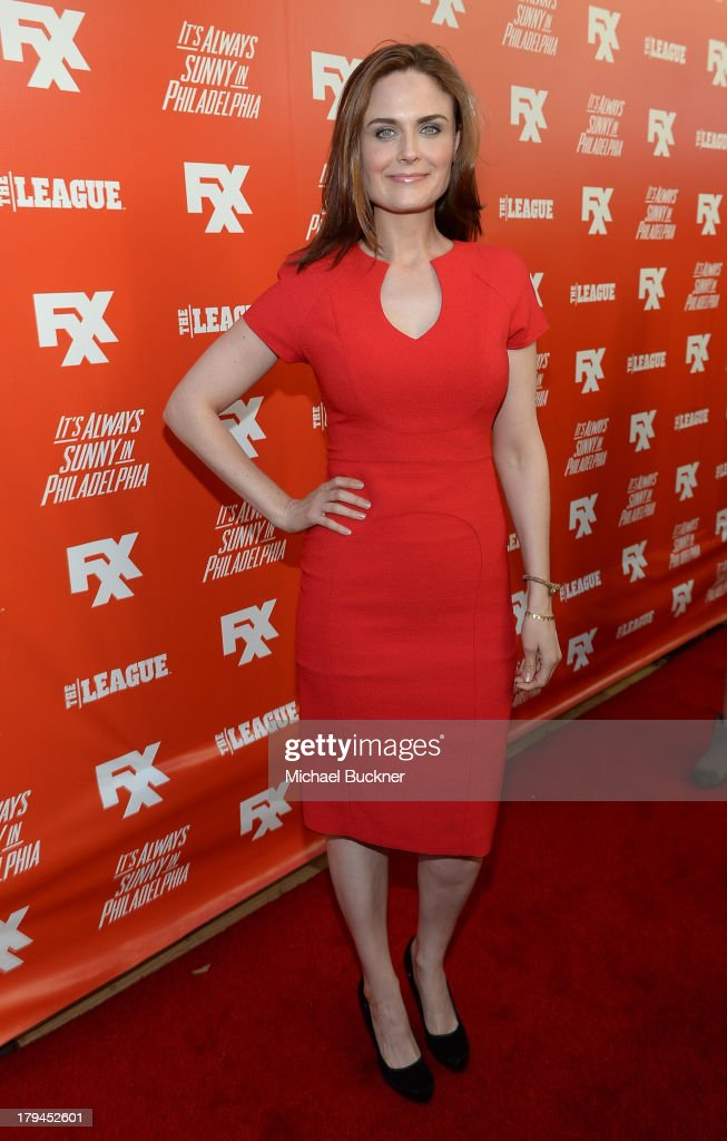 Actress <a gi-track='captionPersonalityLinkClicked' href=/galleries/search?phrase=Emily+Deschanel&family=editorial&specificpeople=240264 ng-click='$event.stopPropagation()'>Emily Deschanel</a> attends the premiere and launch party for FXX Network's 'It's Always Sunny In Philadelphia' and 'The League' at Lure on September 3, 2013 in Hollywood, California.