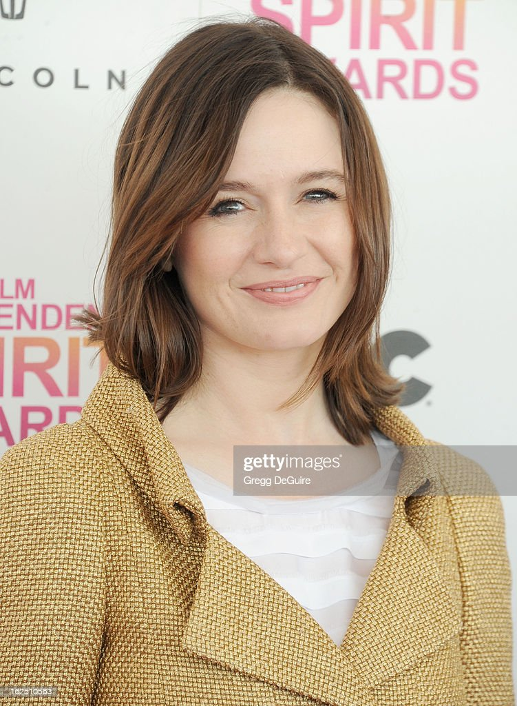 Actress Emily Mortimer arrives at the 2013 Film Independent Spirit Awards at Santa Monica Beach on February 23, 2013 in Santa Monica, California.