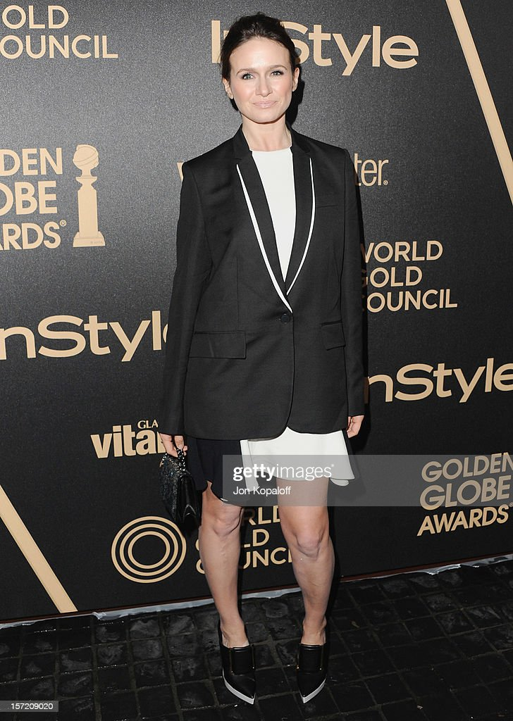 Actress Emily Mortimer arrives at The Hollywood Foreign Press Association And InStyle Miss Golden Globe 2013 Party at Cecconi's Restaurant on November 29, 2012 in Los Angeles, California.