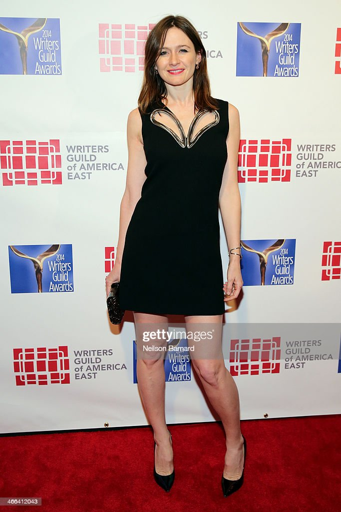 Actress <a gi-track='captionPersonalityLinkClicked' href=/galleries/search?phrase=Emily+Mortimer&family=editorial&specificpeople=202561 ng-click='$event.stopPropagation()'>Emily Mortimer</a> attends The 66th Annual Writers Guild Awards East Coast Ceremony at The Edison Ballroom on February 1, 2014 in New York City.