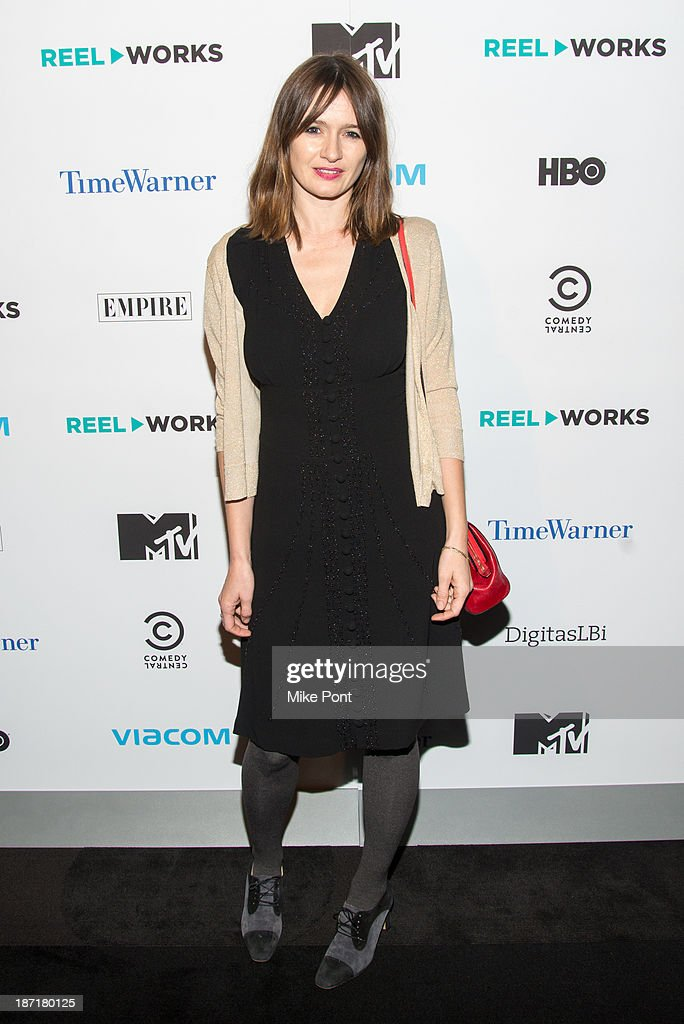 Actress <a gi-track='captionPersonalityLinkClicked' href=/galleries/search?phrase=Emily+Mortimer&family=editorial&specificpeople=202561 ng-click='$event.stopPropagation()'>Emily Mortimer</a> attends the REEL WORKS 2013 benefit gala at The Edison Ballroom on November 6, 2013 in New York City.