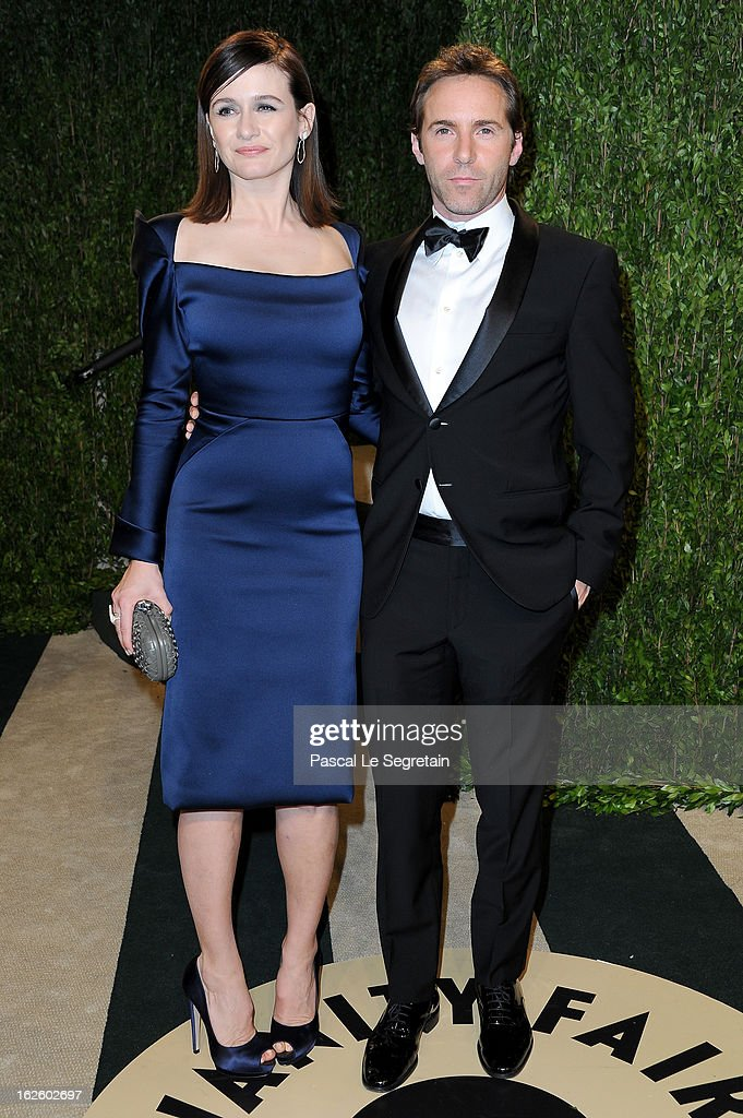 Actress Emily Mortimor and actor Alessandro Nivola arrive at the 2013 Vanity Fair Oscar Party hosted by Graydon Carter at Sunset Tower on February 24, 2013 in West Hollywood, California.