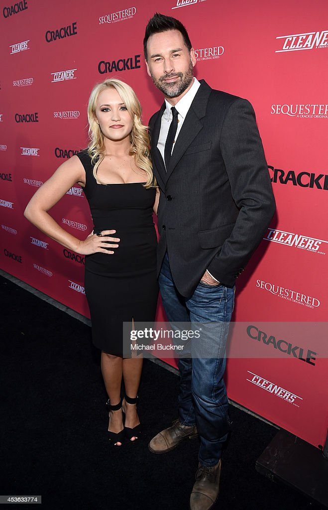 Actress Emily Osment (L) and director/writer Paul Leyden attend Crackle Presents: Summer Premieres Event for originals, 'Sequestered' and 'Cleaners' at 1 OAK on August 14, 2014 in West Hollywood, California.