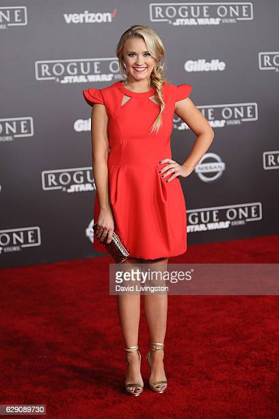 Actress Emily Osment arrives at the premiere of Walt Disney Pictures and Lucasfilm's 'Rogue One A Star Wars Story' at the Pantages Theatre on...