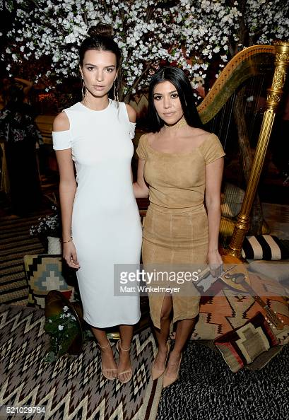 Actress Emily Ratajkowski and TV personality Kourtney Kardashian attend the alice olivia by Stacey Bendet and Neiman Marcus present SeeNowBuyNow...