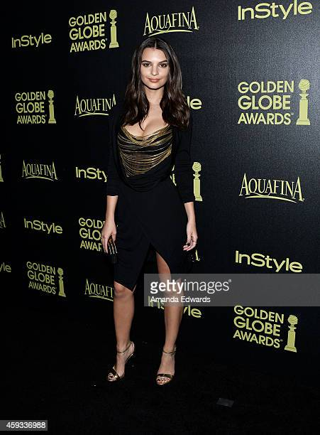 Actress Emily Ratajkowski arrives at The Hollywood Foreign Press Association and InStyle's 2015 Golden Globe Award Season celebration at Fig Olive...