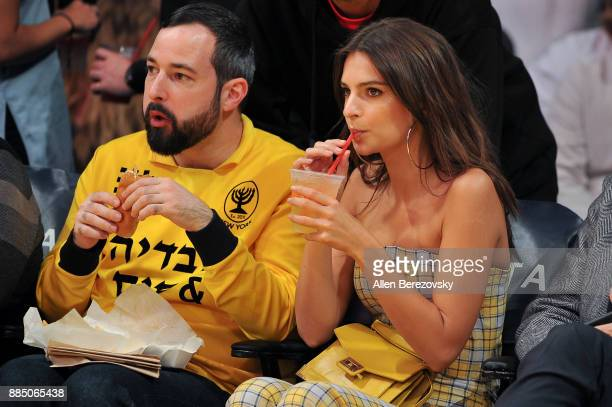 Actress Emily Ratajkowski attends a basketball game between the Los Angeles Lakers and the Houston Rockets at Staples Center on December 3 2017 in...