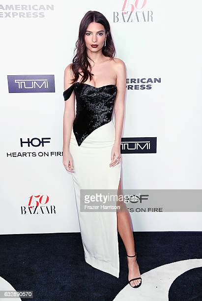 Actress Emily Ratajkowski attends Harper's Bazaar Celebrates 150 Most Fashionable Women at Sunset Tower Hotel on January 27 2017 in West Hollywood...