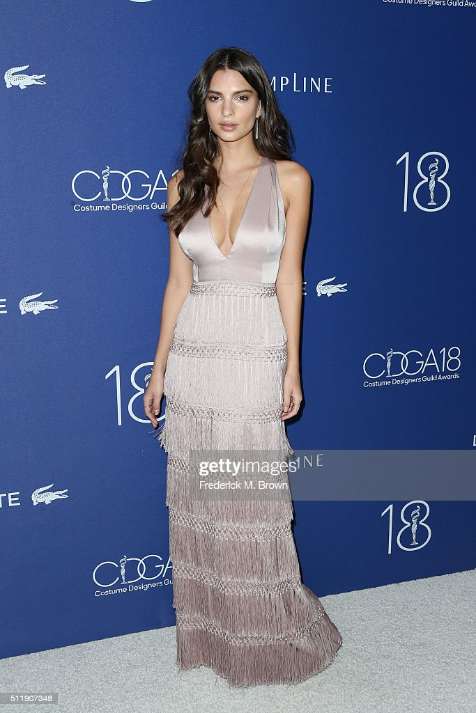 Actress Emily Ratajkowski attends the 18th Costume Designers Guild Awards with Presenting Sponsor LACOSTE at The Beverly Hilton Hotel on February 23, 2016 in Beverly Hills, California.