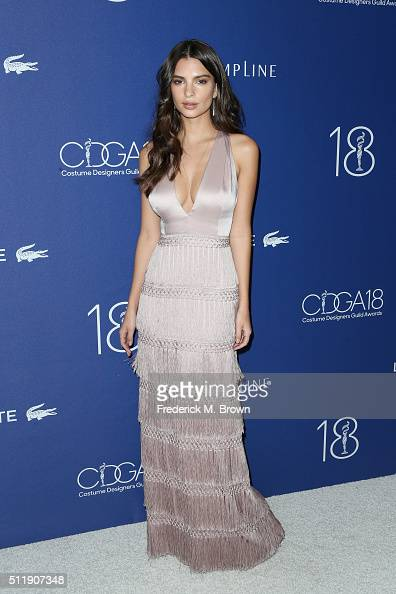 Actress Emily Ratajkowski attends the 18th Costume Designers Guild Awards with Presenting Sponsor LACOSTE at The Beverly Hilton Hotel on February 23...