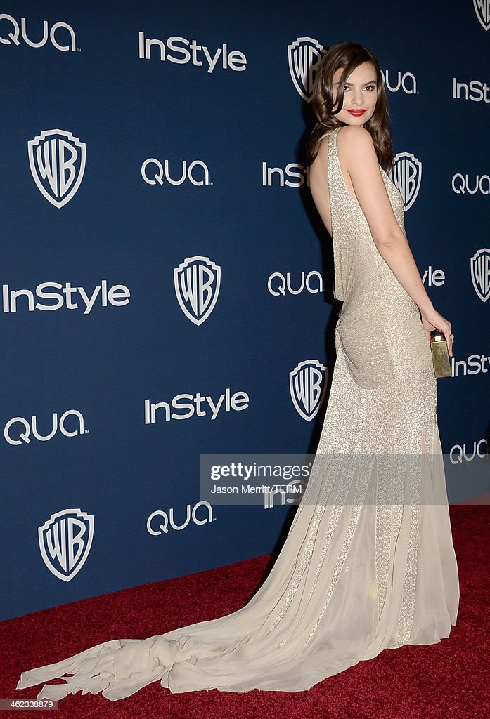 Actress <a gi-track='captionPersonalityLinkClicked' href=/galleries/search?phrase=Emily+Ratajkowski&family=editorial&specificpeople=9198518 ng-click='$event.stopPropagation()'>Emily Ratajkowski</a> attends the 2014 InStyle and Warner Bros. 71st Annual Golden Globe Awards Post-Party on January 12, 2014 in Beverly Hills, California.