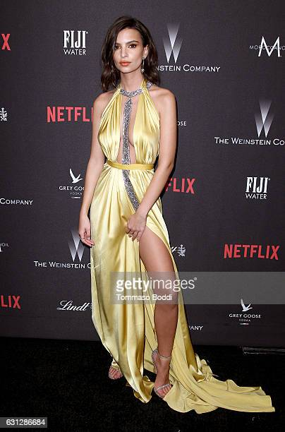 Actress Emily Ratajkowski attends The Weinstein Company and Netflix Golden Globe Party presented with FIJI Water Grey Goose Vodka Lindt Chocolate and...