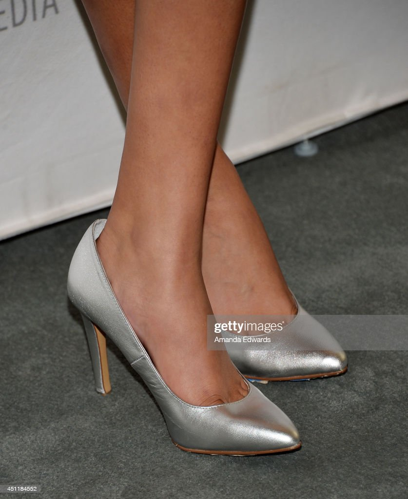 Actress <a gi-track='captionPersonalityLinkClicked' href=/galleries/search?phrase=Emily+Rios&family=editorial&specificpeople=812294 ng-click='$event.stopPropagation()'>Emily Rios</a> (shoe detail) arrives at The Paley Center for Media's premiere screening of FX's 'The Bridge' at The Paley Center for Media on June 24, 2014 in Beverly Hills, California.
