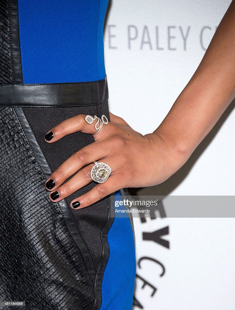 Actress <a gi-track='captionPersonalityLinkClicked' href=/galleries/search?phrase=Emily+Rios&family=editorial&specificpeople=812294 ng-click='$event.stopPropagation()'>Emily Rios</a> (jewelry and manicure detail) arrives at The Paley Center for Media's premiere screening of FX's 'The Bridge' at The Paley Center for Media on June 24, 2014 in Beverly Hills, California.