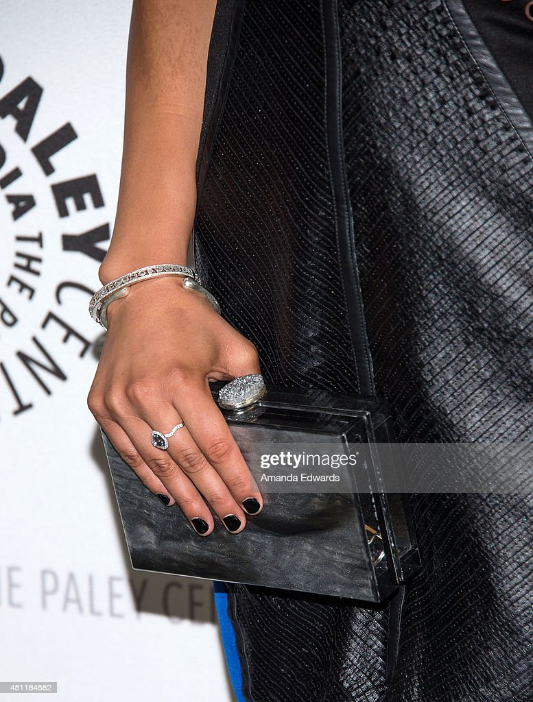 Actress <a gi-track='captionPersonalityLinkClicked' href=/galleries/search?phrase=Emily+Rios&family=editorial&specificpeople=812294 ng-click='$event.stopPropagation()'>Emily Rios</a> (clutch and jewelry detail) arrives at The Paley Center for Media's premiere screening of FX's 'The Bridge' at The Paley Center for Media on June 24, 2014 in Beverly Hills, California.