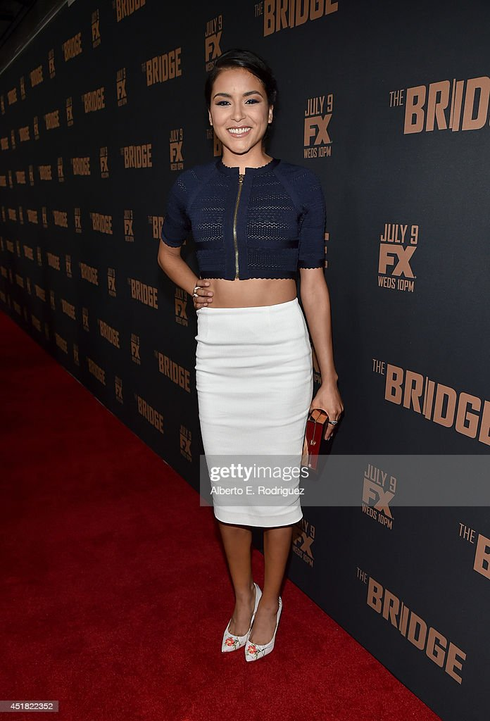 Actress <a gi-track='captionPersonalityLinkClicked' href=/galleries/search?phrase=Emily+Rios&family=editorial&specificpeople=812294 ng-click='$event.stopPropagation()'>Emily Rios</a> attends the premiere of FX's 'The Bridge' at Pacific Design Center on July 7, 2014 in West Hollywood, California.
