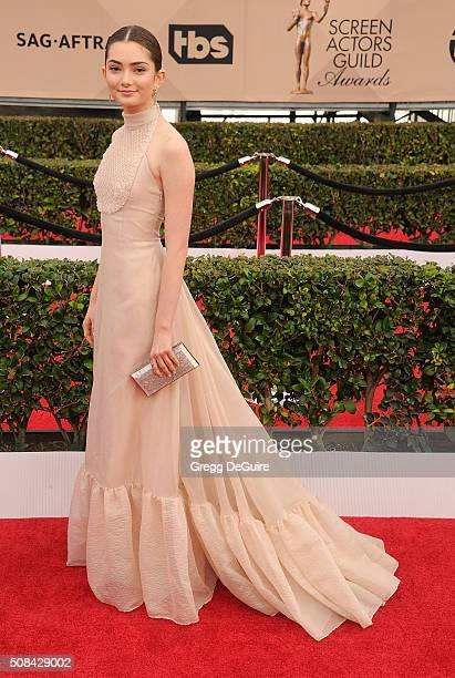 Actress Emily Robinson arrives at the 22nd Annual Screen Actors Guild Awards at The Shrine Auditorium on January 30 2016 in Los Angeles California