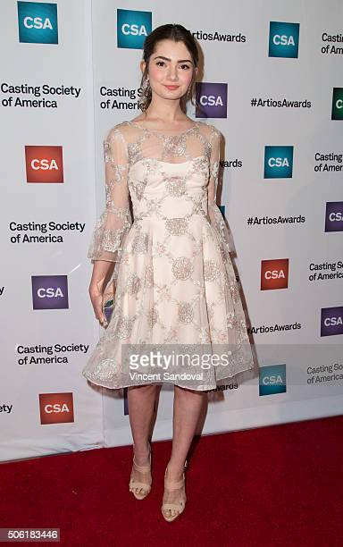 Actress Emily Robinson attends the Casting Society of America's 31st Annual Artios Awards at The Beverly Hilton Hotel on January 21 2016 in Beverly...
