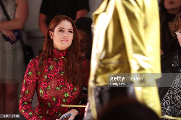 Actress Emily Tremaine attends the Georgine fashion show during New York Fashion Week September 2016 at The Gallery Skylight at Clarkson Sq on...