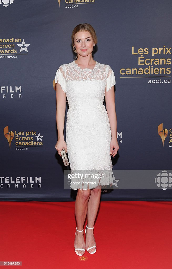 Actress Emily VanCamp arrives at the 2016 Canadian Screen Awards at the Sony Centre for the Performing Arts on March 13 2016 in Toronto Canada