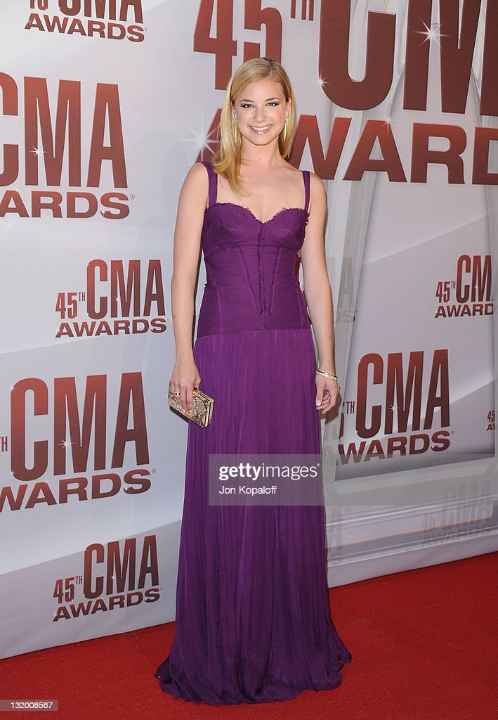 Actress <a gi-track='captionPersonalityLinkClicked' href=/galleries/search?phrase=Emily+VanCamp&family=editorial&specificpeople=574784 ng-click='$event.stopPropagation()'>Emily VanCamp</a> arrives at the 45th annual CMA Awards at the Bridgestone Arena on November 9, 2011 in Nashville, Tennessee.