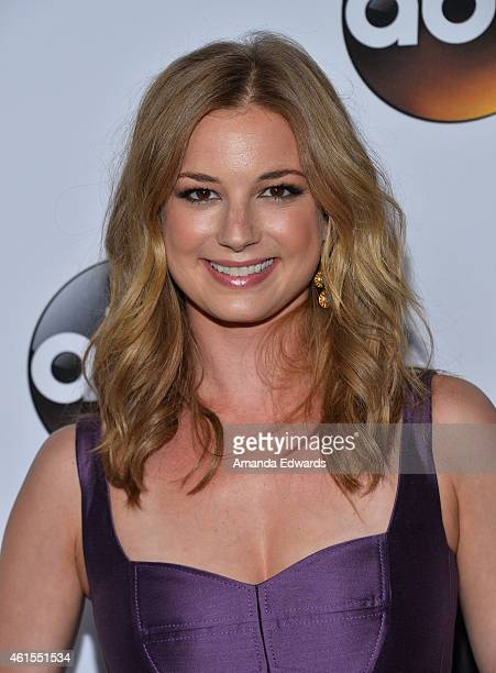Actress Emily VanCamp arrives at the ABC TCA 'Winter Press Tour 2015' Red Carpet on January 14 2015 in Pasadena California