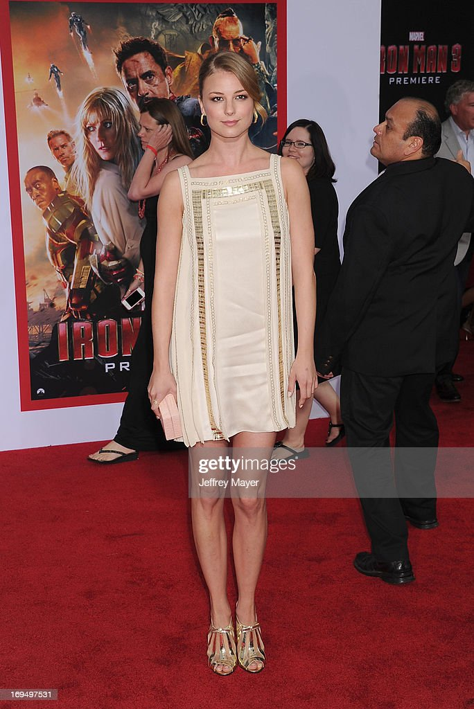 Actress Emily VanCamp arrives at the Los Angeles Premiere of 'Iron Man 3' at the El Capitan Theatre on April 24, 2013 in Hollywood, California.